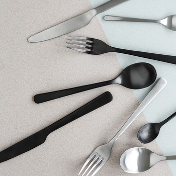 Hune Cutlery Set - 16 Piece - Titanium Matt Black