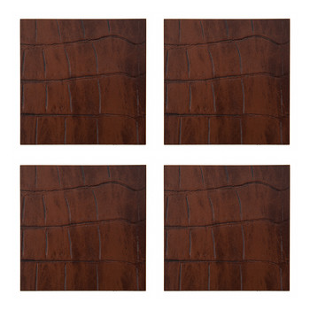 Camellia Recycled Leather Coasters - Set of 4 - Cognac