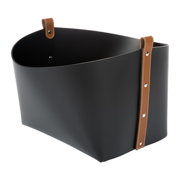 Beak Leather Bucket Basket - Black