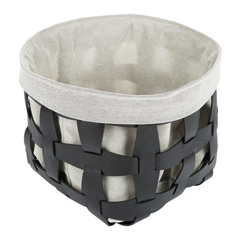 Beak Leather Lattice Basket - Black