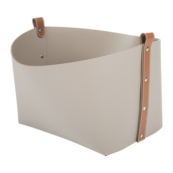 Calla Lily Leather Bucket Basket - Taupe