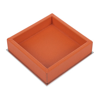 Baxter Leather Square Trinket Tray - Mango Golf