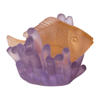 Corals Small Fish Sculpture - Amber/Violet