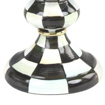 Courtly Check Enamel Pillar Candlestick