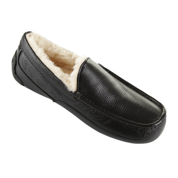 Men's Ascot Leather Slippers - Black