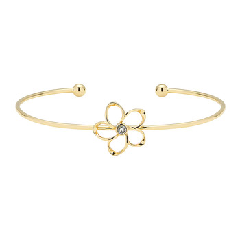 Beysa Mini Crystal Bloom Thin Cuff - Gold/Crystal