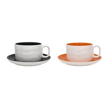 Raised Stem Cappuccino Cup - Set of 2 - Charcoal/Orange