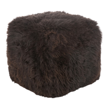 Sheepskin Pouf - Brown