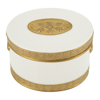 Impero Oval Box - White & Antique Gold