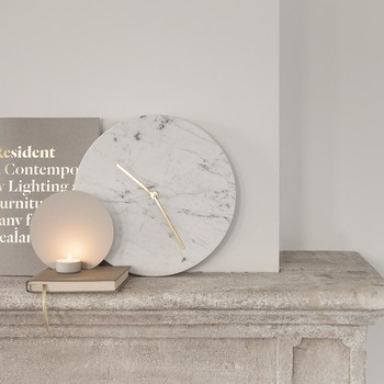Marble Wall Clock - White