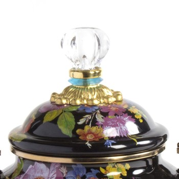 Flower Market Enamel Tea Kettle - Black