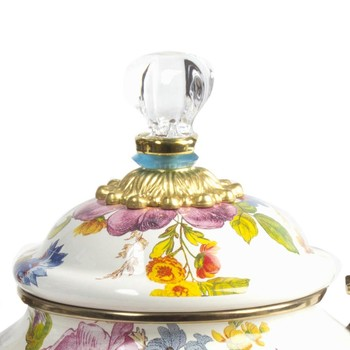 Flower Market Enamel Tea Kettle - White