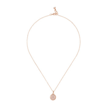 Emmalyn Big Button Necklace - Rose Gold/Baby Pink