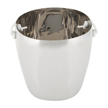 Ice Bucket with Leather Handles - Stainless Steel