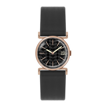 Cecelia Watch with Thick Strap - Black