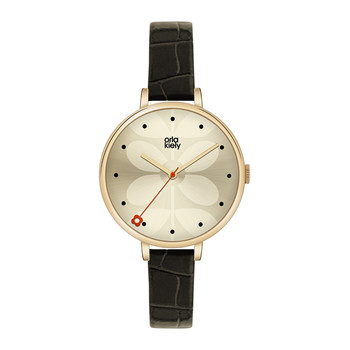 Ivy Watch with Thin Leather Strap - Black