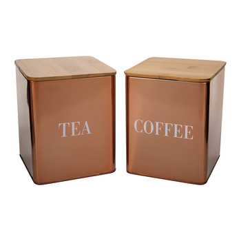 Copper 'Coffee/Tea' Canisters