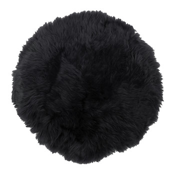 New Zealand Sheepskin Seat Pad - Long Wool - Black