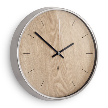 Madera Wall Clock - Natural/Nickel