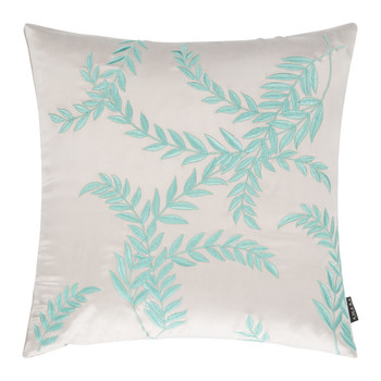 Woodcroft Silk/Cotton Pillow - 40x40cm - Stone/Sage