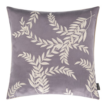 Woodcroft Silk/Cotton Cushion - 40x40cm - Washed Plum/Stone