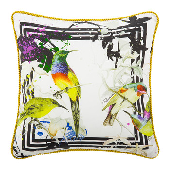 Bird Ramage Silk Bed Cushion - White