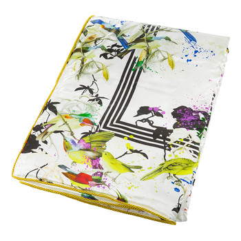 Bird Ramage Silk Throw - White - 130x180cm