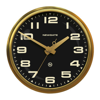 Brixton Wall Clock - Radial Brass - Black Dial