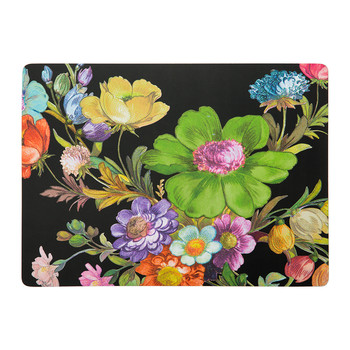 Flower Market Cork Back Placemats - Set of 4 - Black