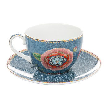 Spring To Life Cappuccino Cup & Saucer - Blue
