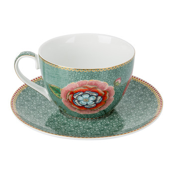 Spring To Life Cappuccino Cup & Saucer - Green