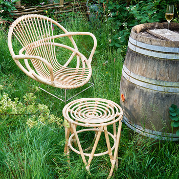 Rattan Paperclip Stool - Natural