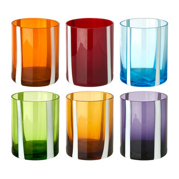 Colour & White Stripe Tumblers - Set of 6