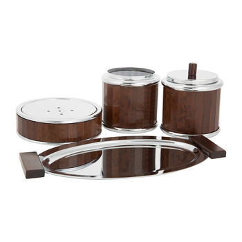 Chrome & Wood Bathroom Accessory Set