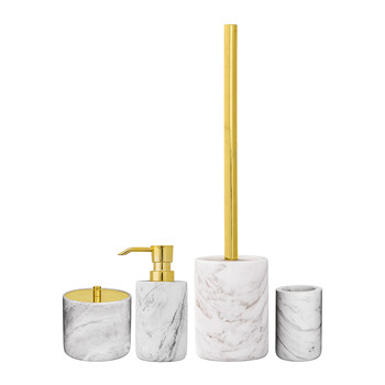 Marble/Gold Bathroom Accessory Set