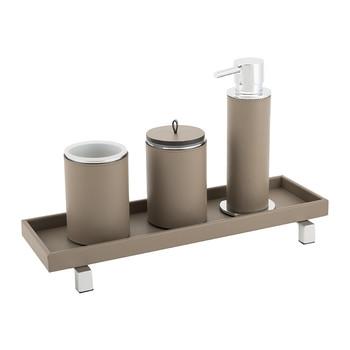Leather Bathroom Collection - Taupe
