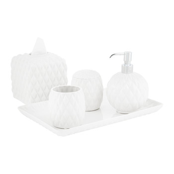 Black Tie Bathroom Accessory Set - White
