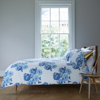 Peony Blossom Blue Bed Linen