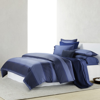 Banded Net Bed Linen - Navy