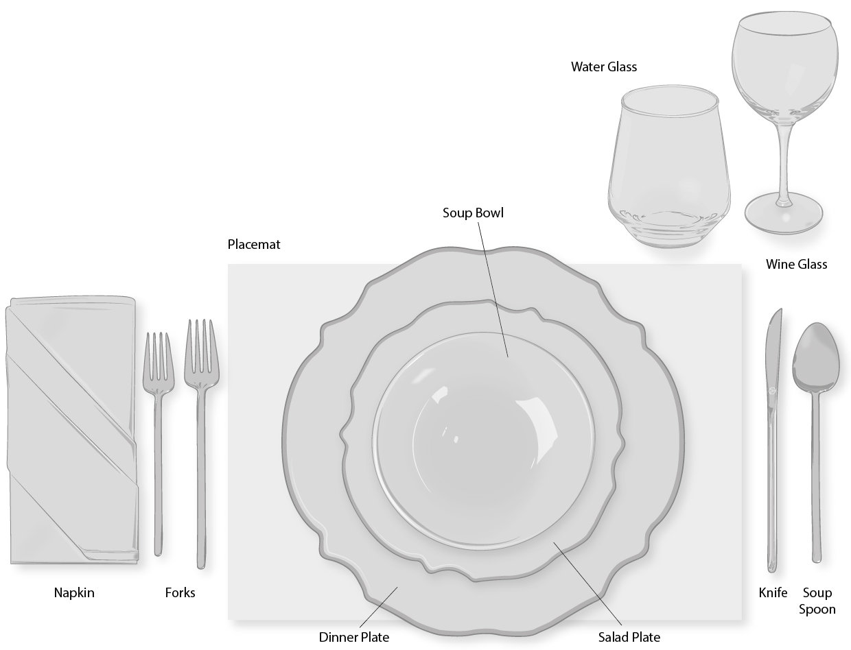 casual or informal dinner table setting