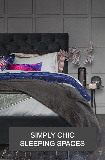 luxury bedroom with designer bedding