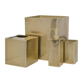 Antique Gold Honeycomb Bathroom Accessory Set