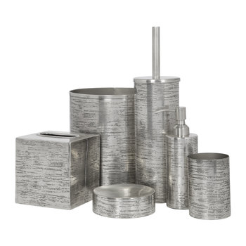 Antique Silver Textured Bathroom Accessory Set