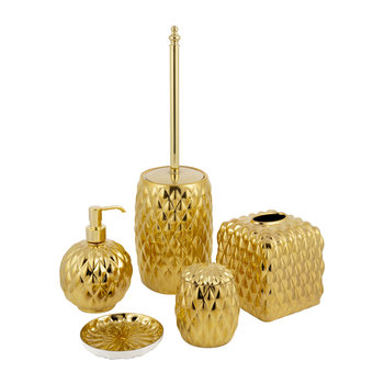 Black Tie Bathroom Accessory Set - Gold
