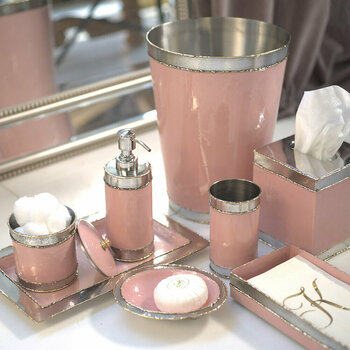 Cascade Pink Lace Bathroom Accessory Set