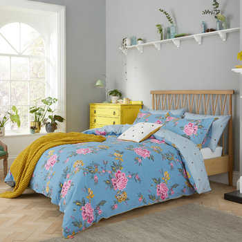 Chinoise Floral Bed Linen - Frozen Blue