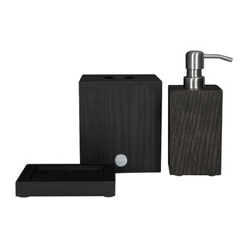 Dark Oak Bathroom Accessory Set