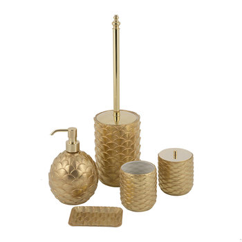 Gold Peacock Bathroom Accessory Set
