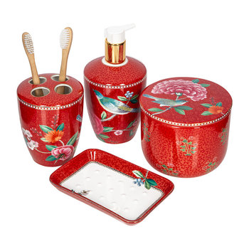 Good Moring Bathroom Accessory Set - Red