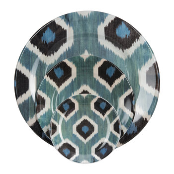Ikat Blue & Black Tableware